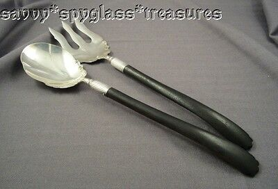 Wonderful Signed Hand Crafted Nickel Silver and Ebony Wood Salad Serving Set