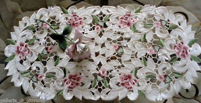 """Doily Royal Rose Dreser scarf Lace  Doily Flower Floral  27"""" Red Pink Roses"""