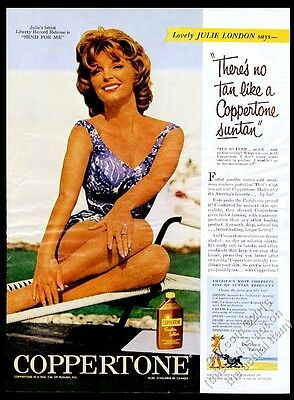 1961 Julie London photo Coppertone suntan lotion vintage print ad