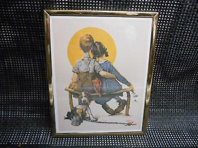Old vtg Norman Rockwell Boy & Girl Young Love Print Framed Picture Painting