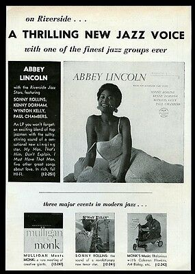 1958 Abbey Lincoln photo Riverside jazz records vintage print ad