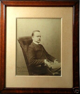 """Outstanding SHERIFF/LAWMAN w/BADGE, Huge Framed 21""""x18"""" Photo, Signed/Dated 1896"""