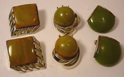 3 pairs Vintage Shades of GREEN  Bakelite   Clip on Earring LOT