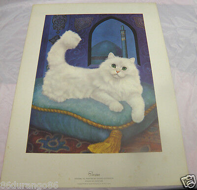 """Girard Goodenow Print Of Painting Persian Cat Vintage 1965 14""""x19"""""""