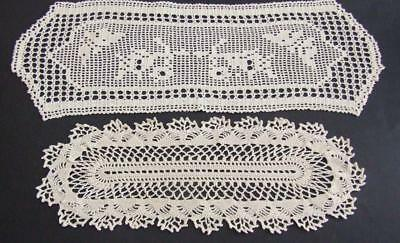 Two Beautiful Cream Hand Crocheted Sandwich Doilies - One Very Large