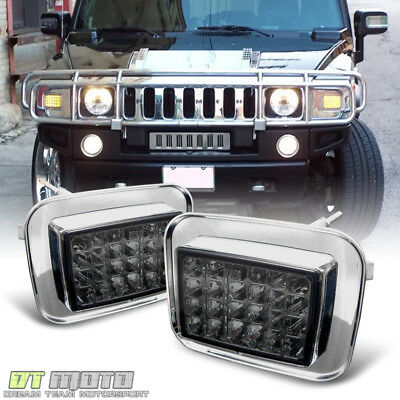 Smoked 2003-2009 Hummer H2 LED Corner Signal Lights Parking Lamps Left+Right