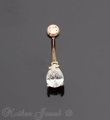7Mm Pear Double Simulated Diamond 14K Rose Gold Triple Plate Belly Navel Ring
