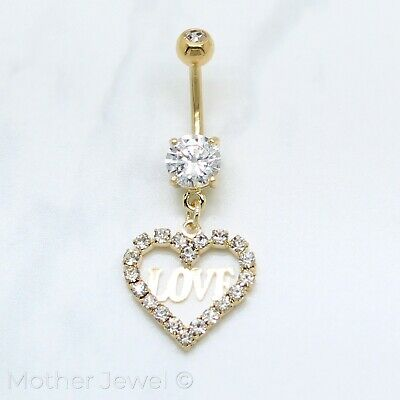 14K Yellow Gold Triple Plated Love Heart Dangle Cz Belly Button Navel Bar Ring