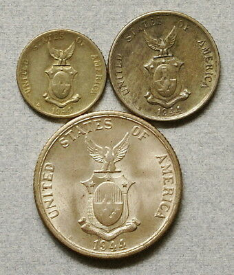 PHILIPPINES 10, 20, 50 Centavos 1944-D,1944-S - Lot of 3 Silver Coins, NR!