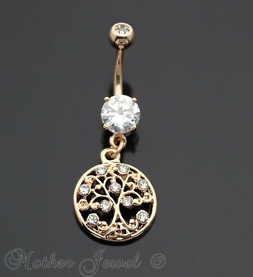 14K Rose Gold Triple Plate Round Family Tree Of Life Dangle Belly Navel Ring