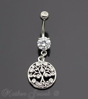 Silver 316L Surgical Steel Round Family Tree Of Life Dangle Belly Navel Ring
