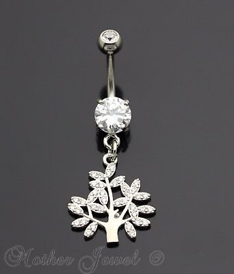 Simulated Diamond Silver 316L Surgical Steel Family Tree Of Life Belly Ring