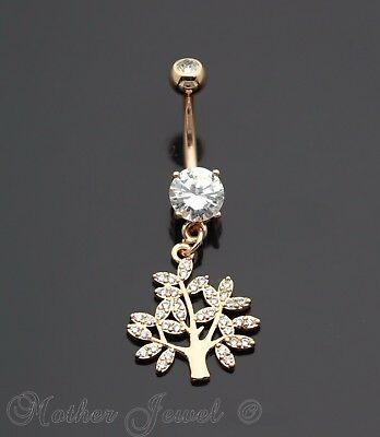 Simulated Diamond 14K Rose Gold Triple Plated Family Tree Of Life Belly Ring
