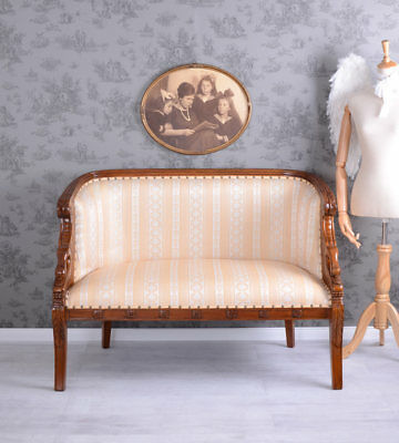 Empire Sofa With Carvings Mahogany Bench Vintage White Sofa Couch