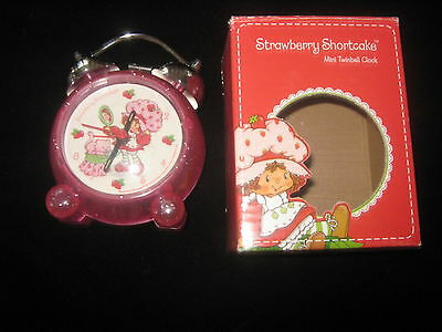Strawberry Shortcake Mini Twinbell Clock Pink in Box 2006