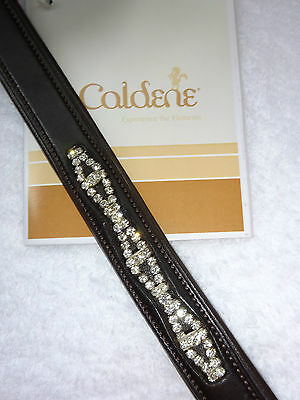 New** Caldene Diamante Crystal Centre Brown Leather Browband~Cob Size **