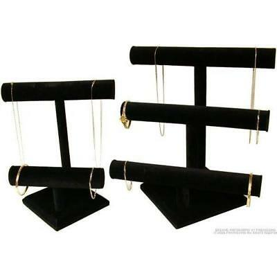 2 Black Velvet T-Bar Display Jewelry Chain Bracelet