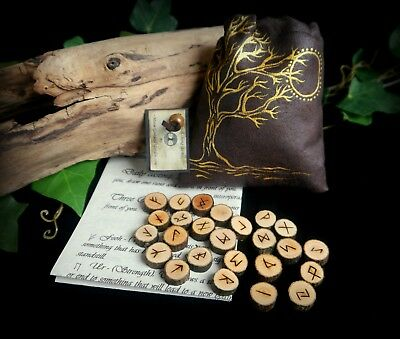 Witches 25 Alder Wood Runes with Tree of Life Moon Bag Wicca Pagan Yule Gift