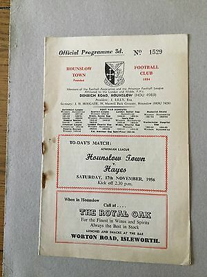 HOUNSLOW TOWN v HAYES 1956/7.