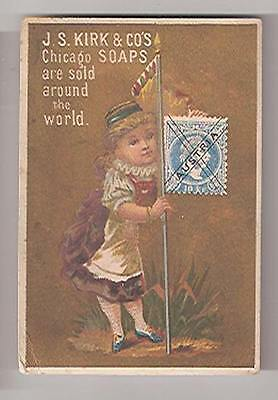 Old Soap Trade Card JS Kirk Chicago Soaps Sold Around The World Austria