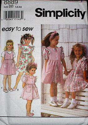 Simplicity EASY Childs Girls Dress Pinafore  Jumper Pattern 8889 UC 5-6X