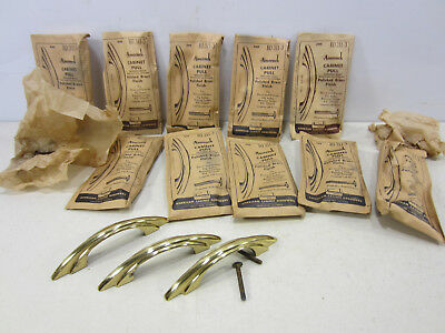 10 1950's Amerock Polished Brass Finish Kitchen Cabinet Pulls NOS #13