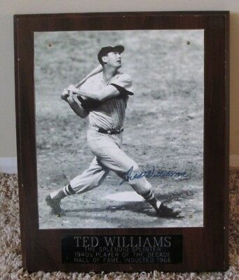 Vintage Ted Williams Auto Signed Photo On Plaque Boston Red Sox Coa Rare