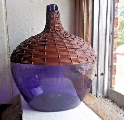 "1880s RARE AMETHYST PURPLE 17 1/2"" KIDNEY DEMIJOHN BOTTLE WITH WICKER COVER"