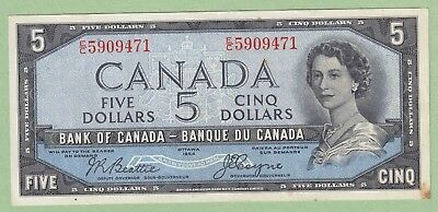 1954 Bank of Canada 5 Dollar Note Devil's Face - Beattie/Coyne - E/C5909471 - EF