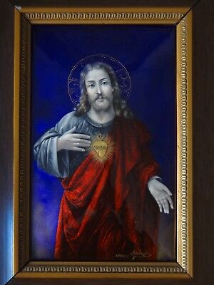 Jesus Christ Sacred Heart Huge Antique French Limoges Enamel Painting On Copper