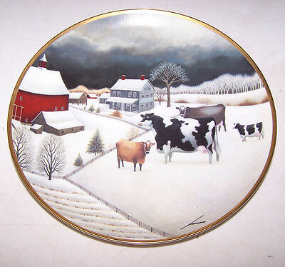 The Franklin Mint HOLSTEIN COW Cows in Winter Plate -Farm Snow Lowell Herrero