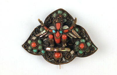 Antique Brass Chinese or Tibet Brooch with Mother of Pearl Coral Lapis Lazuli