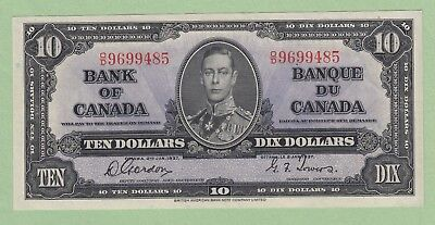 1937 Bank of Canada 10 Dollar Note - Coyne/Towers - O/D9699485 - UNC (pinhole)