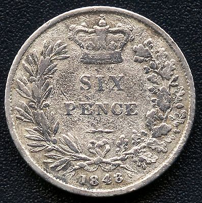 """1848 Great Britain 6 Pence Coin """" 8 Over 6""""  ( 3.01 Grams .895 Silver )"""