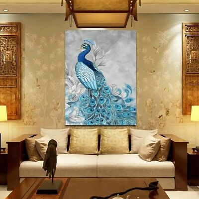 Peacock Oil Painting Canvas Print Art Wall Pictures Home Decor Unframed Modern