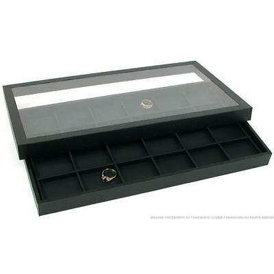 24 Slot Jewelry Display Tray & Acrylic Lid Case