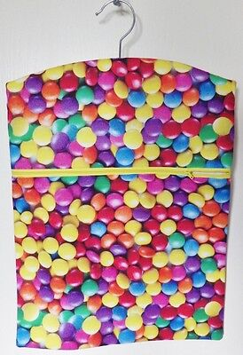 "Hand Made Peg / Hanging Storage Bag Lined/Zipped 12½"" x 16"" Bright Smarties"