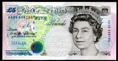 GREAT BRITAIN  5 POUNDS  1990  P 382b  Sign. Kentfield   Uncirculated