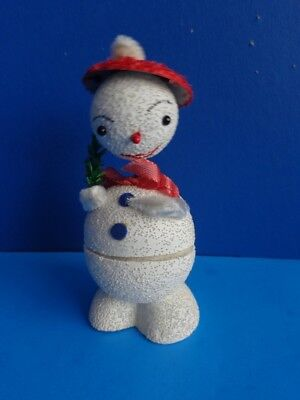 1940s SNOWMAN NODDER PAPER MACHE CANDY CONTAINER- W GERMANY