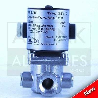 Zev10 3/8'' Bsp Automatic Reset Normally Closed Gas Solenoid Valve 230V