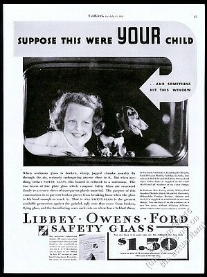 1933 girl and Dachshund photo LOF Libbey Owens Ford Glass vintage print ad
