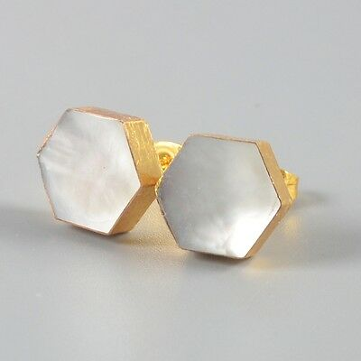 10mm Hexagon Mother Of Pearl White Shell Stud Earrings Gold Plated H96944