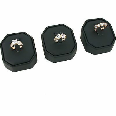 """3 Black Faux Leather Ring Jewelry Display Stands 2 1/8"""" x 2 1/8"""""""