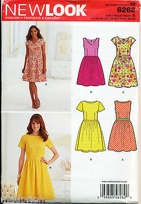 New Look Sewing Pattern 6262 Misses Sz 10-22 Retro Style Dress W/ Boat Or V-Neck