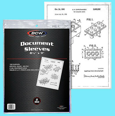 "100 BCW 8.5x11"" SOFT SLEEVES 2 MIL Photo Clear Poly 8-1/2x11 Print Document Page"