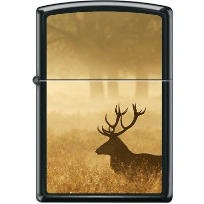 Elk at Sunrise  Black Matte Zippo Lighter 13436