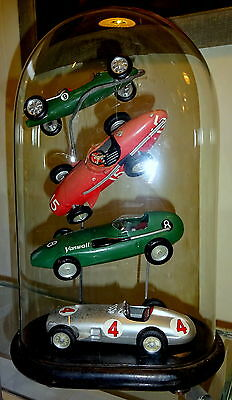 Small Collection Vtg Merit Model Racing Cars in Antique Glass Dome Display Case