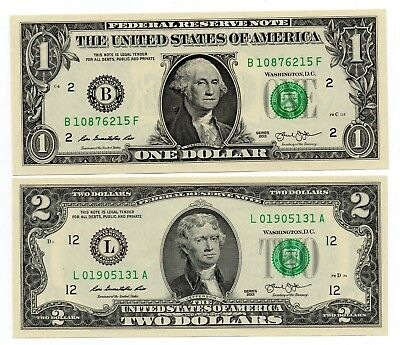 AMERICA USA 1 and 2 Dollars [2013] - A Set of 2 Crisp UNC Banknotes