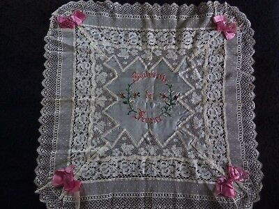 "Antique Silk & Lace HANDKERCHIEF Souvenir de France WW1 16"" Exc Condition"