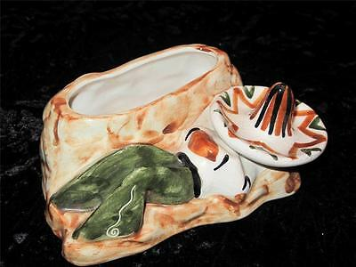VINTAGE JERSEY POTTERY Posy Vase or Small Planter SLEEPING MAN in SOMBRERO